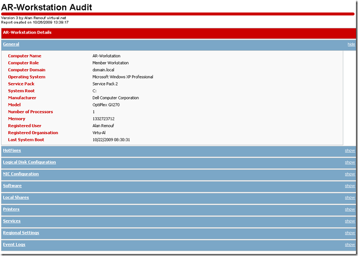 Workstation Server Audit