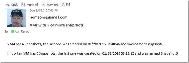 Receiving alerts on if a VM has over a given number of snapshots